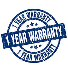 1 year warranty blue round grunge stamp vector