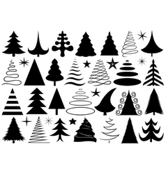 Set of different Christmas trees vector image
