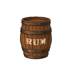 Wooden rum barrel isolated vector