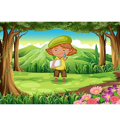 A pupil in the middle of the forest vector