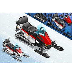 Isometric snowmobile motorbike in front view vector