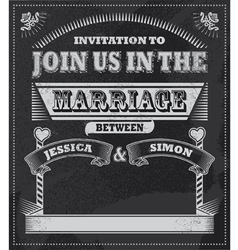 Chalkboard wedding invitation vector