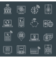 Mobile banking icons outline vector
