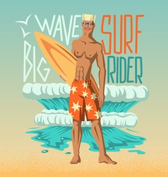Boy with surfboard vector