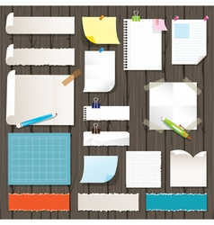 Various Kind of Paper Objects on Wood Background vector image