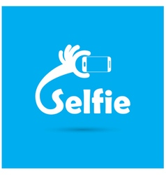 Taking selfie portrait photo on smart phone concep vector