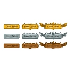 Golden silver and bronze game templates vector