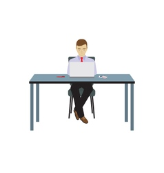 Person businessman sitting at the table vector