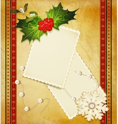 christmas greeting card with holly vector image