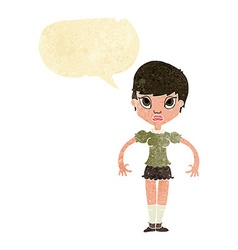 Cartoon woman looking annoyed with speech bubble vector