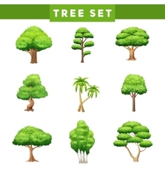 Tree crowns flat icons set vector