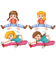 Girls stretching her legs vector