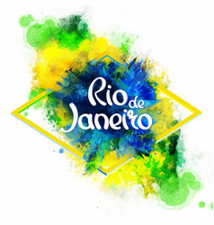 Inscription rio de janeiro on background vector