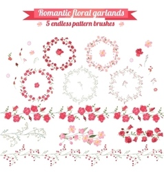 Set with detailed contour wreathes with roses and vector