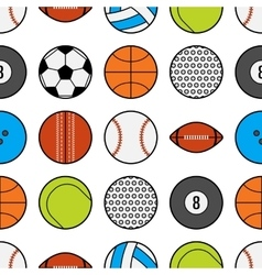 Seamless pattern with different sport balls flat vector