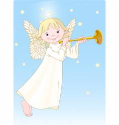 angel with horn vector image vector image