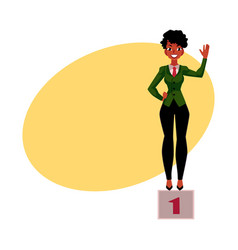 Black african american businesswoman standind on vector