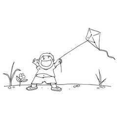 boy and his kite black and white vector image vector image