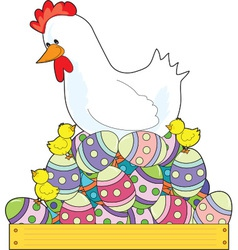 Chicken Easter Eggs vector image vector image