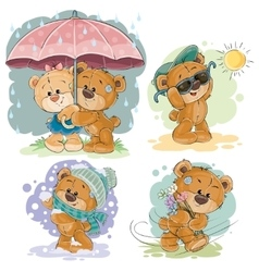Clip art of teddy bear and different vector image vector image