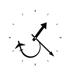 clock with airplane black vector image vector image