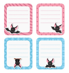 cute cards or stickers with bat cute cards or vector image vector image