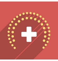 Dotted health care protection flat square icon vector