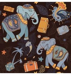 Elephant seamless pattern vector