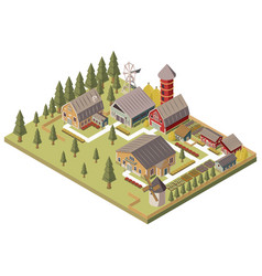 Farm buildings isometric vector