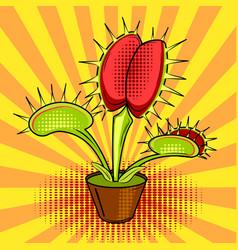 Flower flycatcher comic book vector