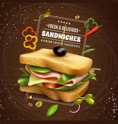 Fresh sandwich wooden background vector