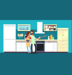 happy couple cooking in kitchen vector image vector image