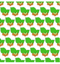 hazel leaf and nuts pattern vector image vector image