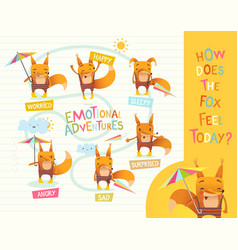how does the fox feel today cute cartoon animal vector image