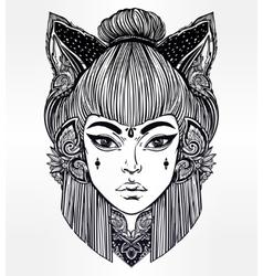 Japanese demon kitsune portrait vector image vector image