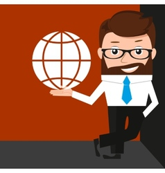 Lucky businessman is presenting an internet simbol vector image vector image
