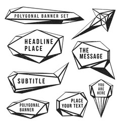 monochrome polygonal banners set vector image