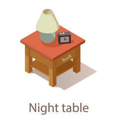 Night table icon isometric style vector