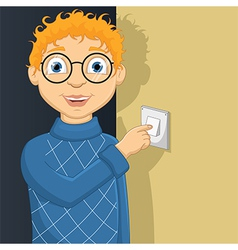 Of A Little Boy Switching On L vector image vector image