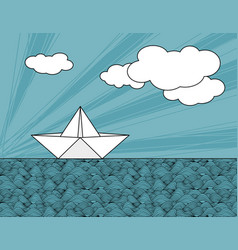 Origami paper ship on sea waves vector