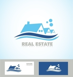 Real estate blue house icon logo vector
