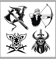 set of viking emblems labels and logos vector image