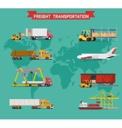 Set on worldwide shipping heavy transport vector
