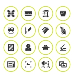 Set round icons of screen printing vector