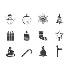 Silhouette beautiful christmas and winter icons vector