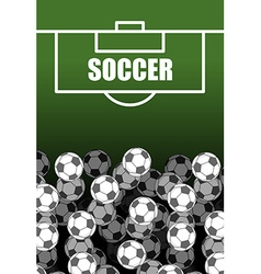 Soccer field and ball lot of balls football vector