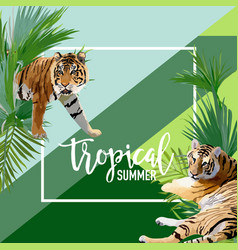 tropical flowers and tiger summer banner vector image