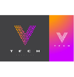 V letter logo technology connected dots letter vector