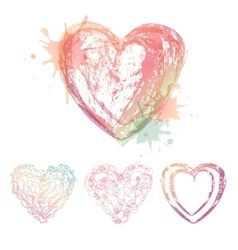 watercolor hearts vector image