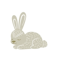 White Rabbit Relaxed Cartoon Wild Animal With vector image vector image